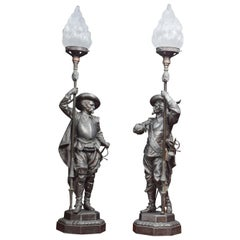 Pair of French Renaissance Soldier Holding a Lamp