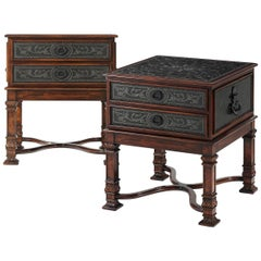 Pair of French Renaissance Style Bedside Tables