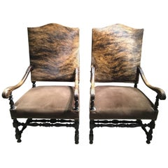 Pair of French Renaissance Style Chairs, 19th Century with Cow Hide Upholstery