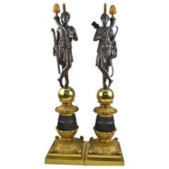 Pair of French Restauration Period Candlestick or Lamps