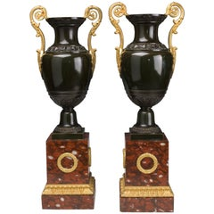 Pair of French Restoration Urns, 19th Century