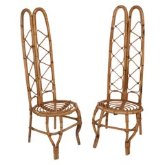 Pair of French Riviera Rattan and Bamboo French High Back Chairs, 1960s