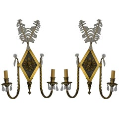 Pair of French Rock Crystal Bronze Sconces