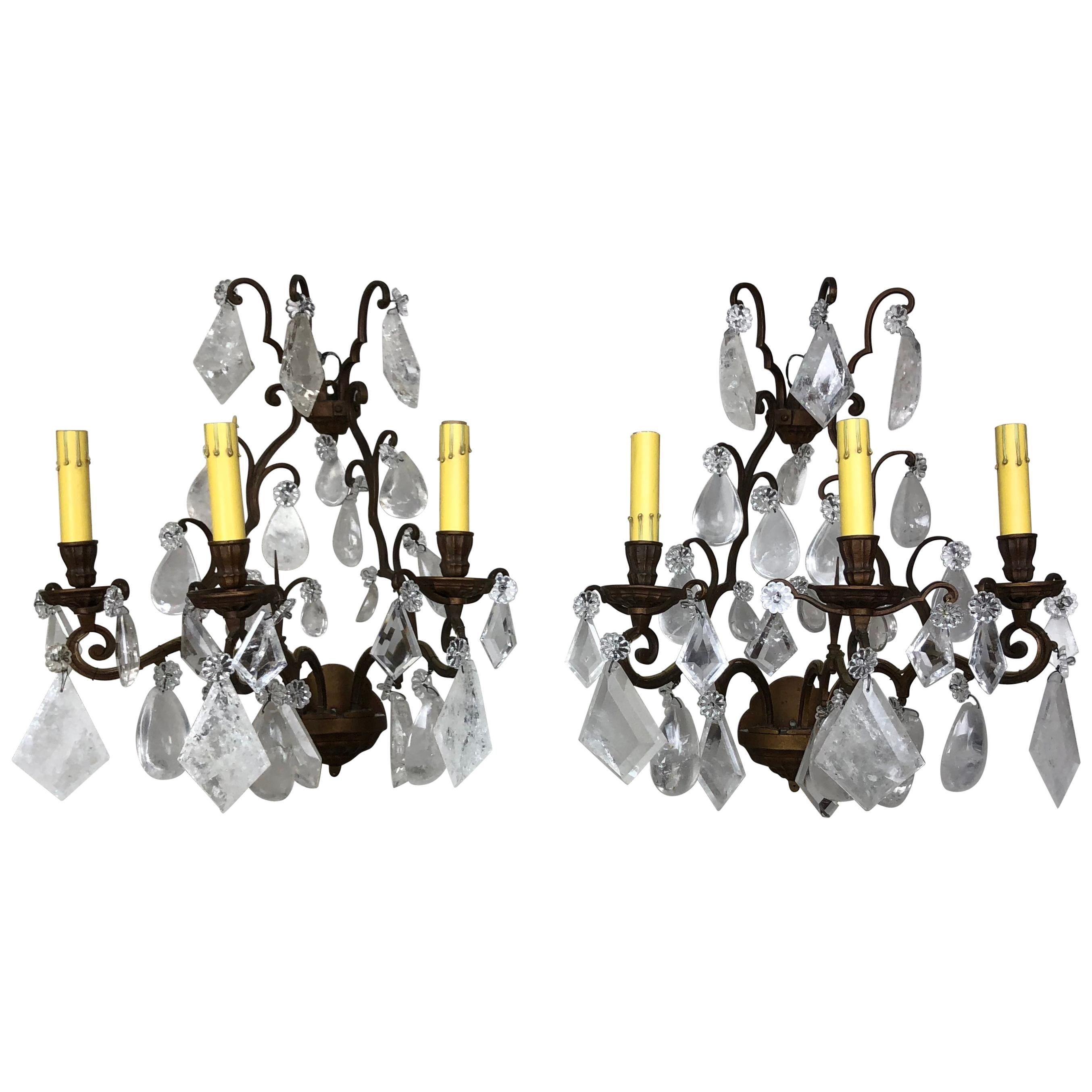 Pair of French Rock Crystal Sconces, circa 1930s