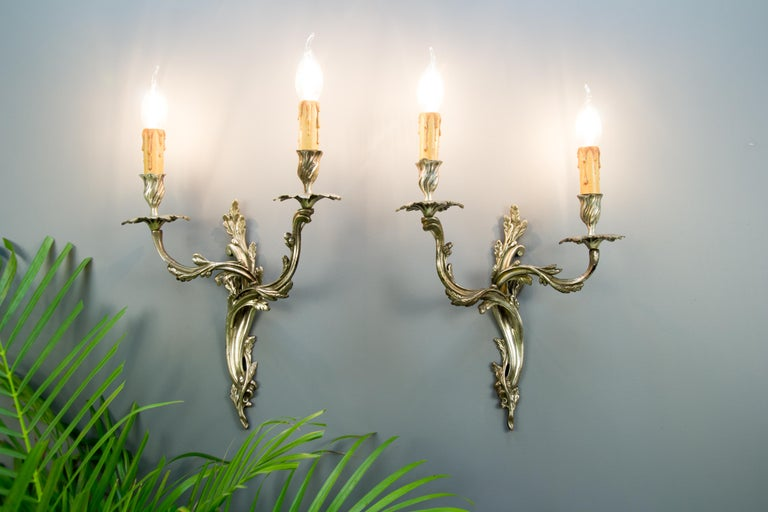 Pair of French Rococo Style Silver Color Bronze Two-Light  Sconces For Sale 12