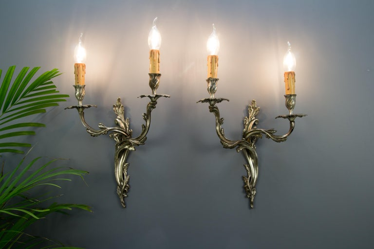 Pair of French Rococo Style Silver Color Bronze Two-Light  Sconces For Sale 14