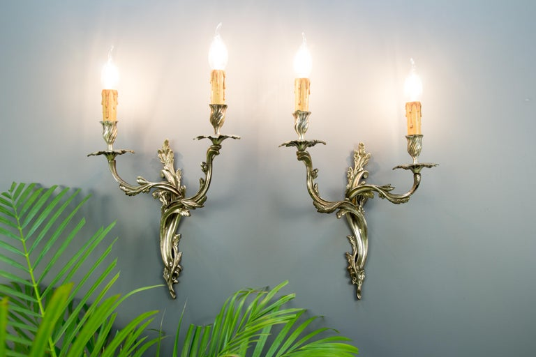 Louis XV Pair of French Rococo Style Silver Color Bronze Two-Light  Sconces For Sale
