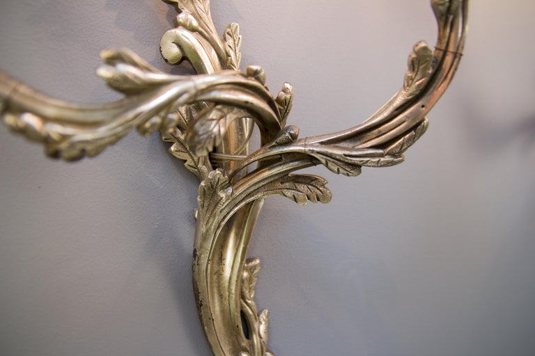 Early 20th Century Pair of French Rococo Style Silver Color Bronze Two-Light  Sconces For Sale
