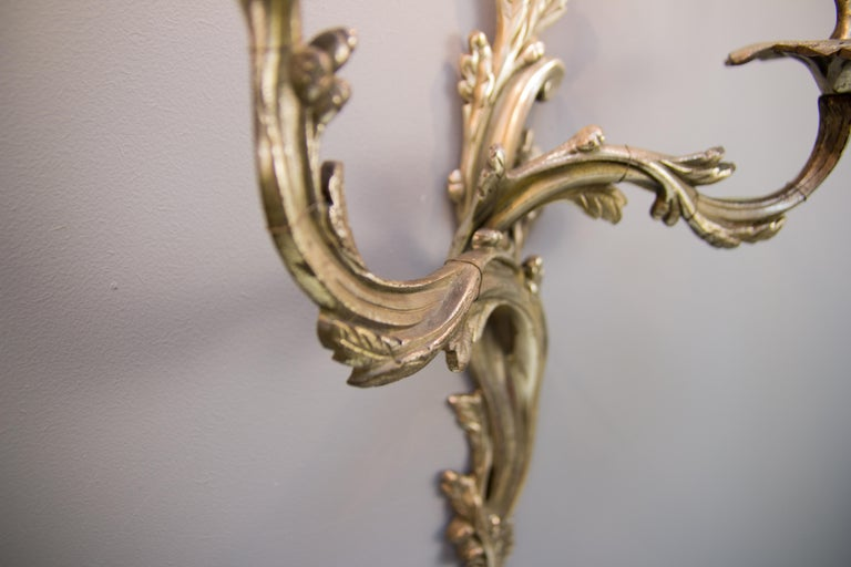 Pair of French Rococo Style Silver Color Bronze Two-Light  Sconces For Sale 1
