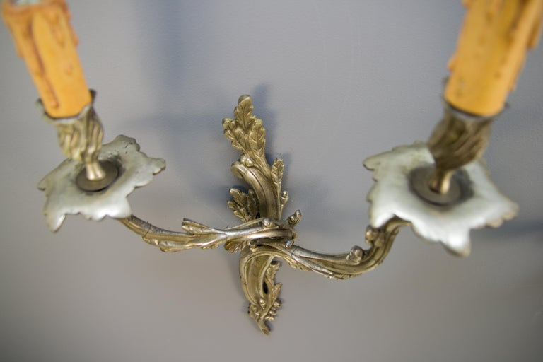 Pair of French Rococo Style Silver Color Bronze Two-Light  Sconces For Sale 2