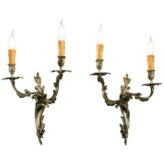 Pair of French Rococo Style Bronze Sconces
