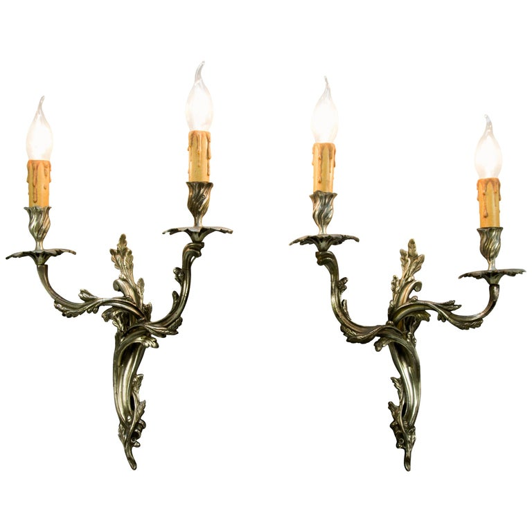 Pair of French Rococo Style Silver Color Bronze Two-Light  Sconces For Sale