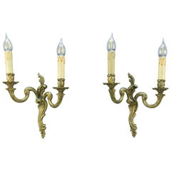 Pair of French Rococo Style Bronze Twin Arm Wall Sconces