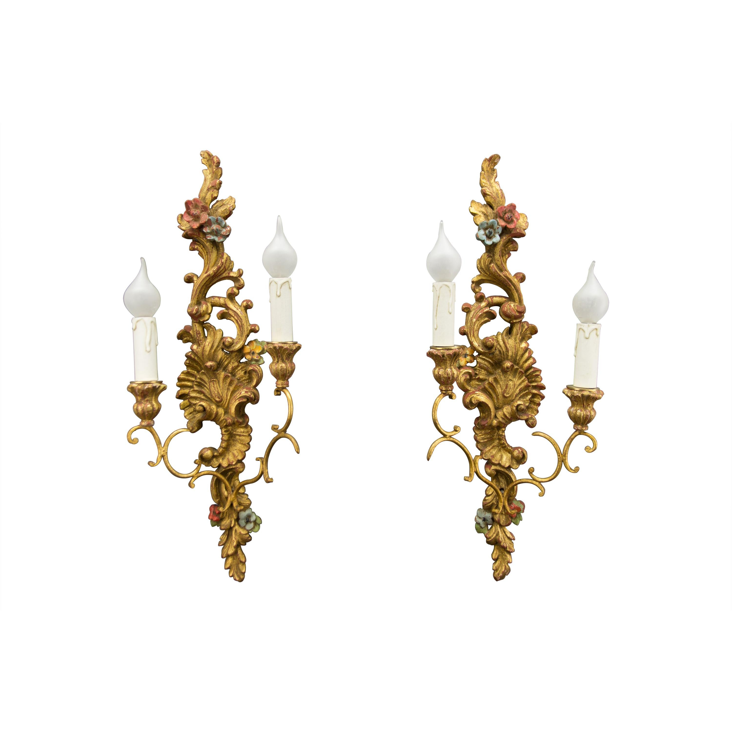Pair of French Rococo Style Carved and Polychrome Painted Wood Sconces, 1930s