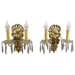 Pair of French Rococo Style Carved Wood and Crystal Glass Sconces