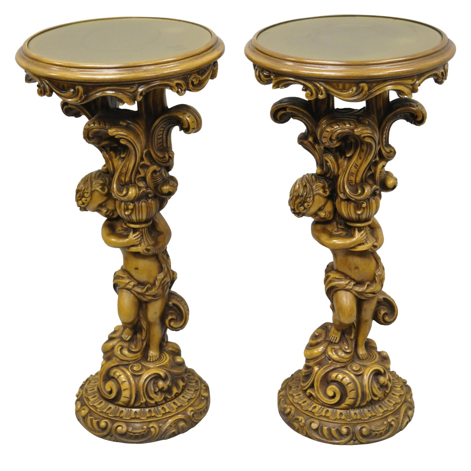 Pair Of French Rococo Style Figural Cherub Angel Pedestal Plant Stands Table For Sale At 1stdibs