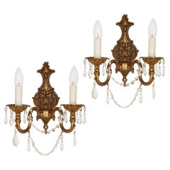 Pair of French Rococo Style Gilt Metal Sconces