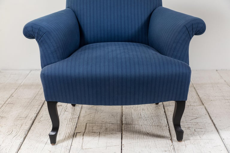 Pair of French Rolled Arm Club Chairs Upholstered in Blue Tonal Striped Fabric For Sale 6