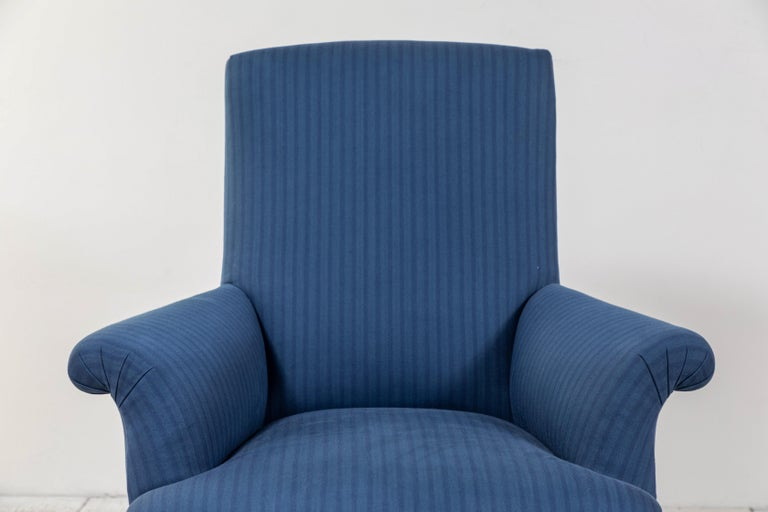 Pair of French Rolled Arm Club Chairs Upholstered in Blue Tonal Striped Fabric For Sale 7