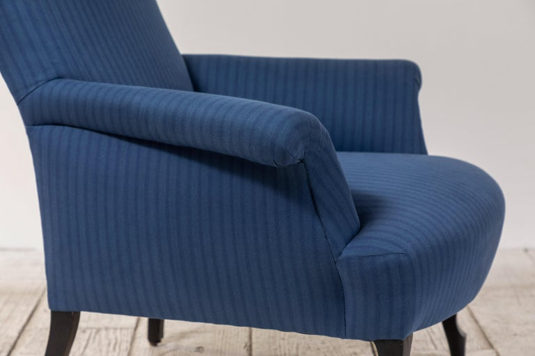 Pair of French Rolled Arm Club Chairs Upholstered in Blue Tonal Striped Fabric For Sale 8