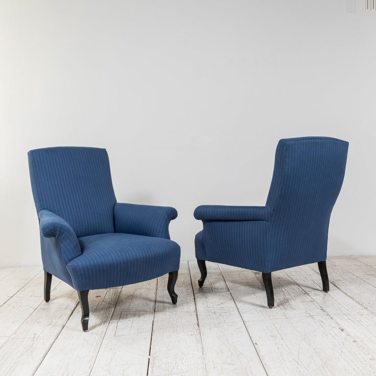 Pair of French Rolled Arm Club Chairs Upholstered in Blue Tonal Striped Fabric In Good Condition For Sale In Los Angeles, CA