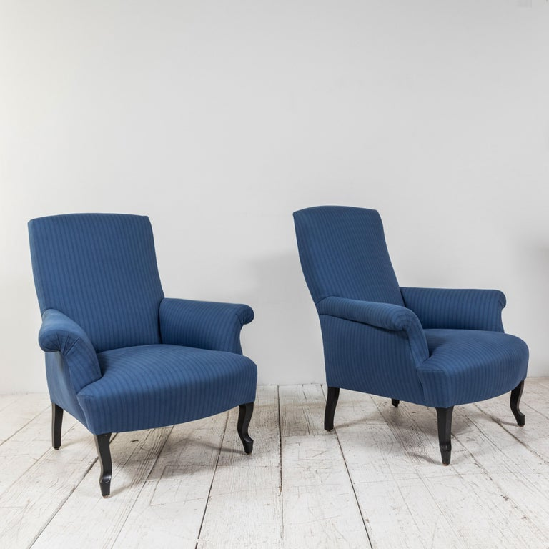 20th Century Pair of French Rolled Arm Club Chairs Upholstered in Blue Tonal Striped Fabric For Sale