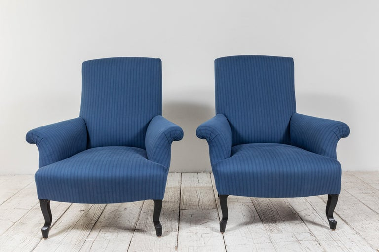 Pair of French Rolled Arm Club Chairs Upholstered in Blue Tonal Striped Fabric For Sale 1