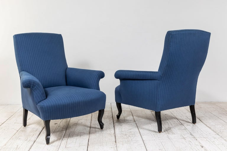 Pair of French Rolled Arm Club Chairs Upholstered in Blue Tonal Striped Fabric For Sale 2