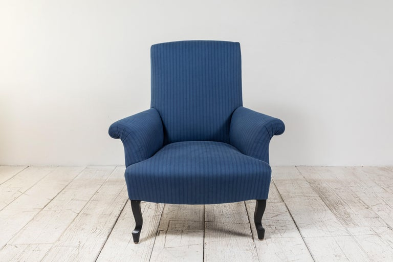 Pair of French Rolled Arm Club Chairs Upholstered in Blue Tonal Striped Fabric For Sale 3