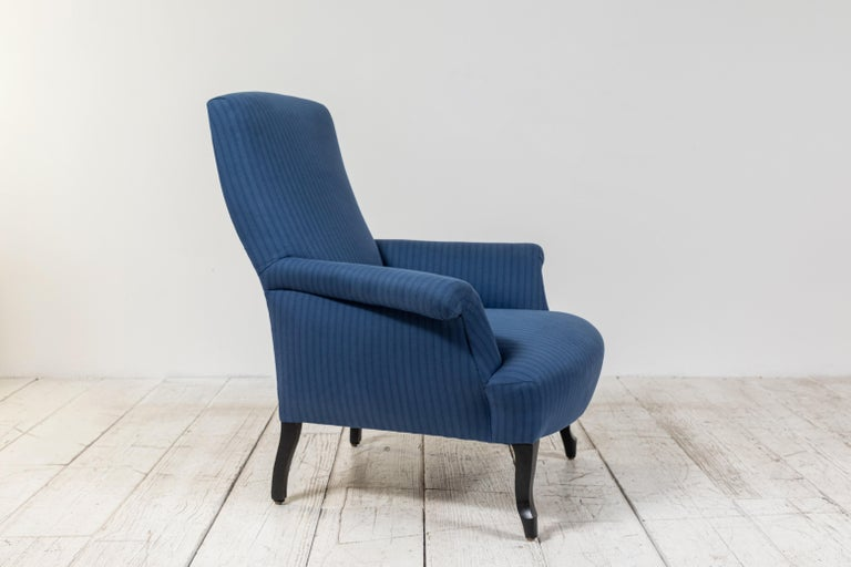 Pair of French Rolled Arm Club Chairs Upholstered in Blue Tonal Striped Fabric For Sale 4