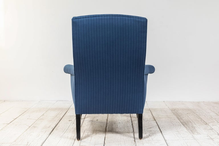 Pair of French Rolled Arm Club Chairs Upholstered in Blue Tonal Striped Fabric For Sale 5