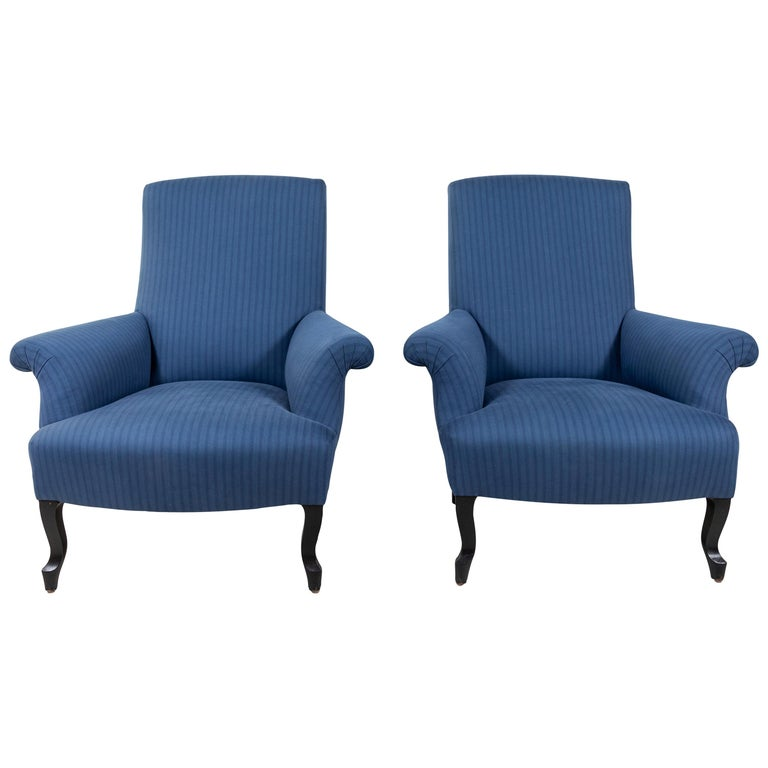 Pair of French Rolled Arm Club Chairs Upholstered in Blue Tonal Striped Fabric For Sale