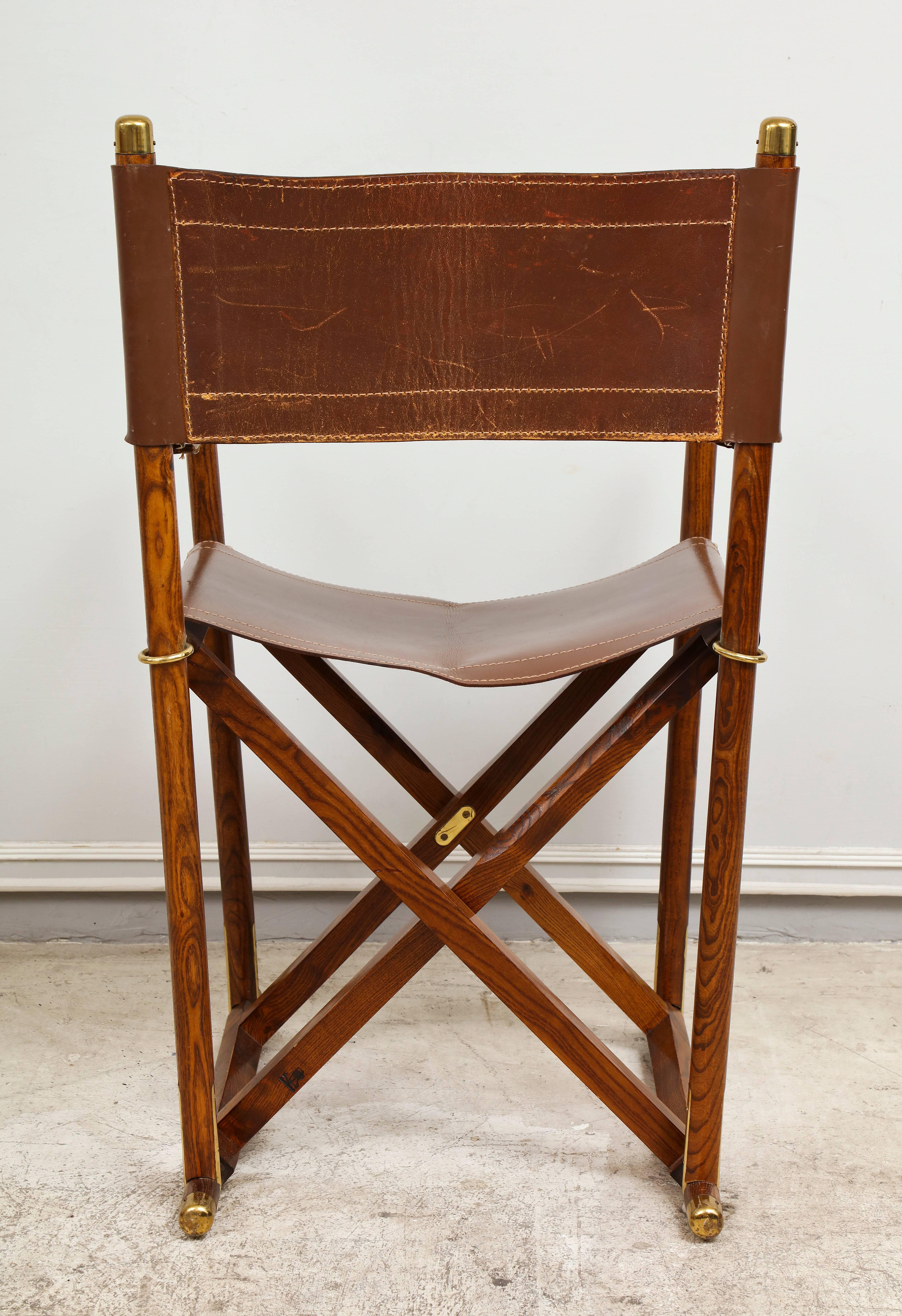 Delicieux French Pair Of Folding Rosewood And Leather Director Chairs With Brass  Fittings