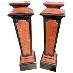 Pair of French Rouge and Black Marble Pedestals