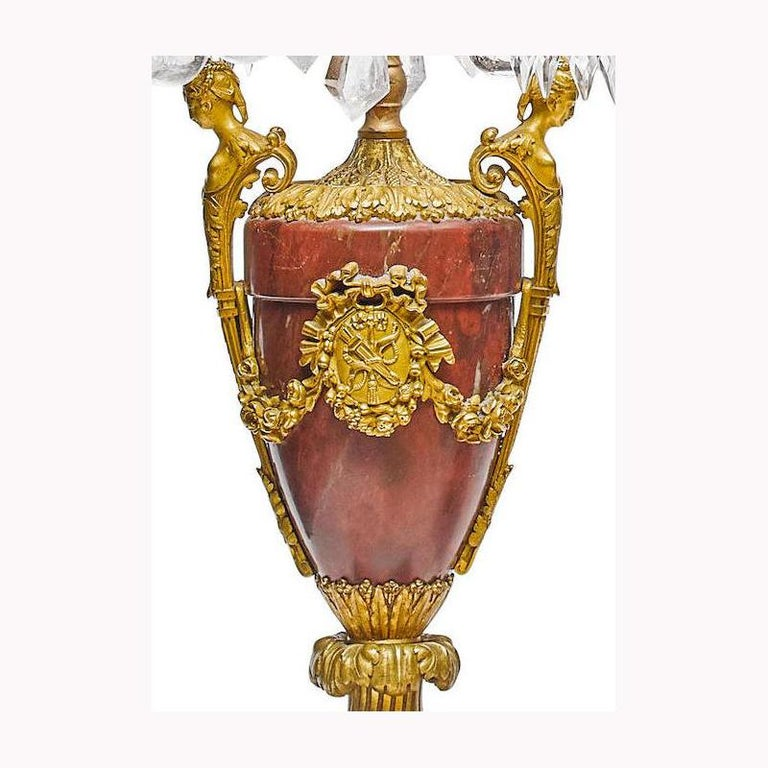 Pair of French Rouge Marble & Rock Crystal Ormolu Lamps, 19th Century For Sale 8