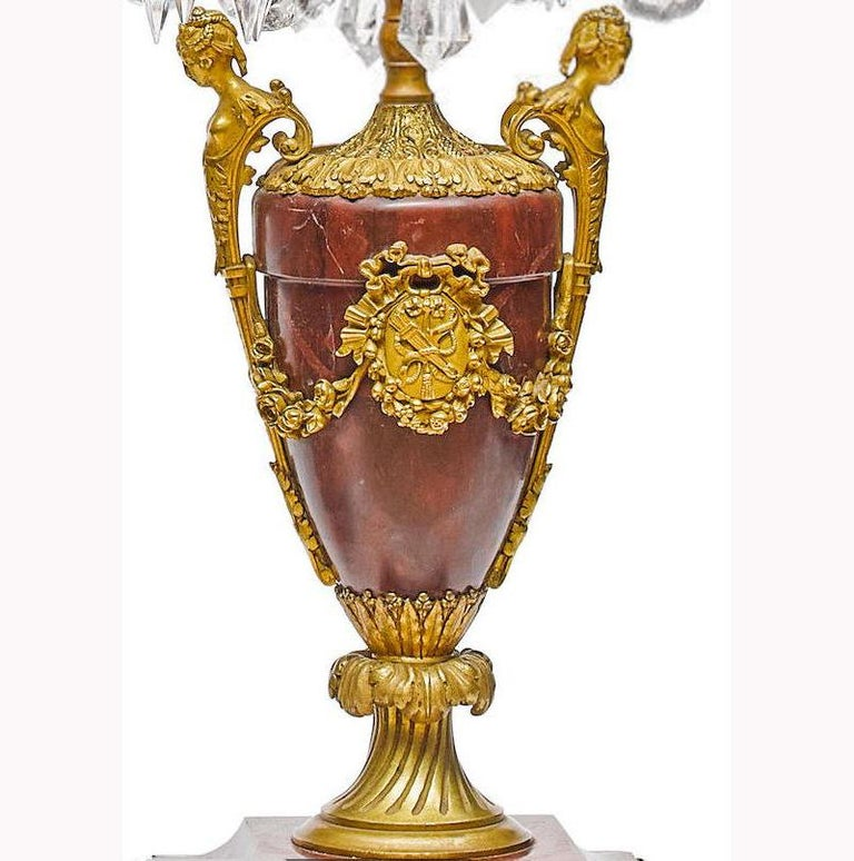 Pair of French Rouge Marble & Rock Crystal Ormolu Lamps, 19th Century For Sale 9