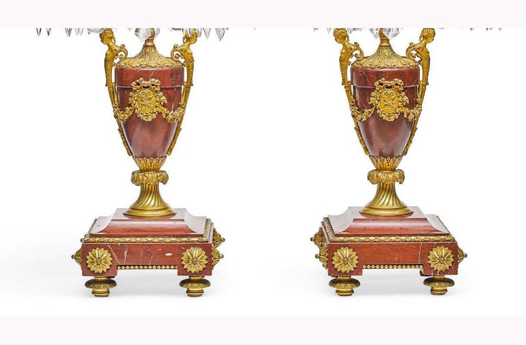 Pair of French Rouge Marble & Rock Crystal Ormolu Lamps, 19th Century For Sale 10