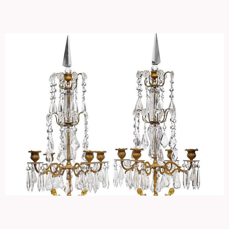 Pair of French Rouge Marble & Rock Crystal Ormolu Lamps, 19th Century For Sale 11