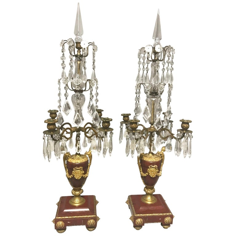 Pair of French Rouge Marble & Rock Crystal Ormolu Lamps, 19th Century For Sale