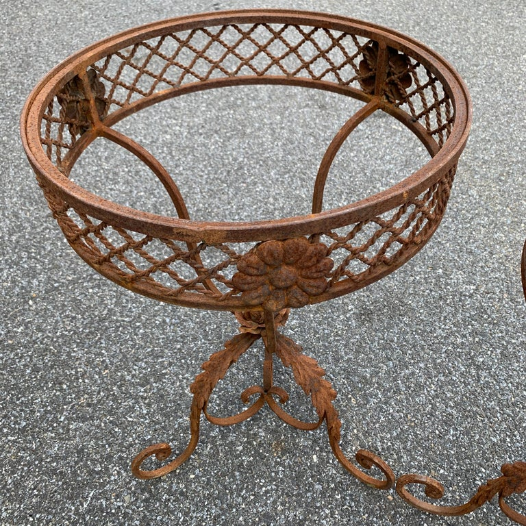 Pair of French Round Wrought Iron and Marble Garden Bistro Tables For Sale 5
