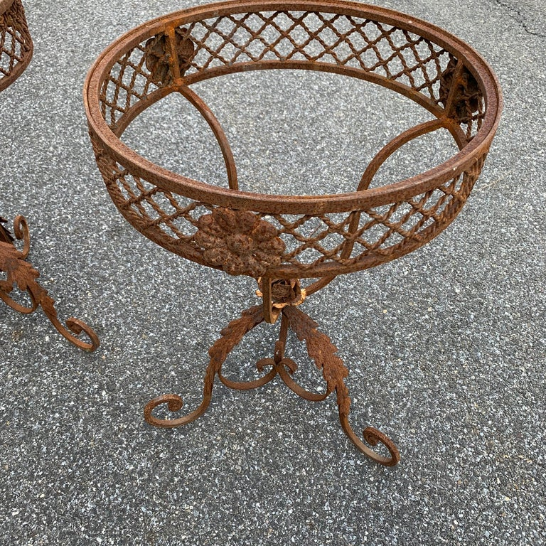 Pair of French Round Wrought Iron and Marble Garden Bistro Tables For Sale 6