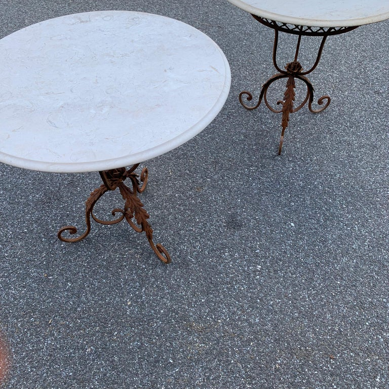 Pair of French Round Wrought Iron and Marble Garden Bistro Tables For Sale 15
