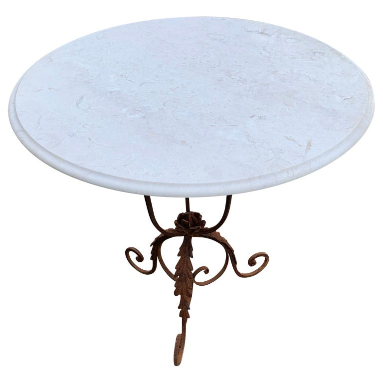 Louis XVI Pair of French Round Wrought Iron and Marble Garden Bistro Tables For Sale