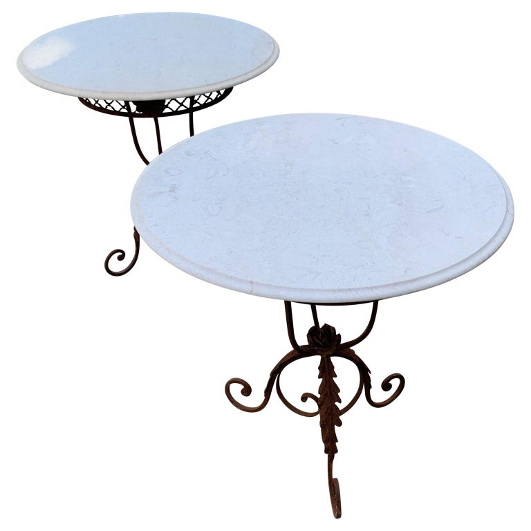 Pair of French Round Wrought Iron and Marble Garden Bistro Tables In Good Condition For Sale In Haddonfield, NJ