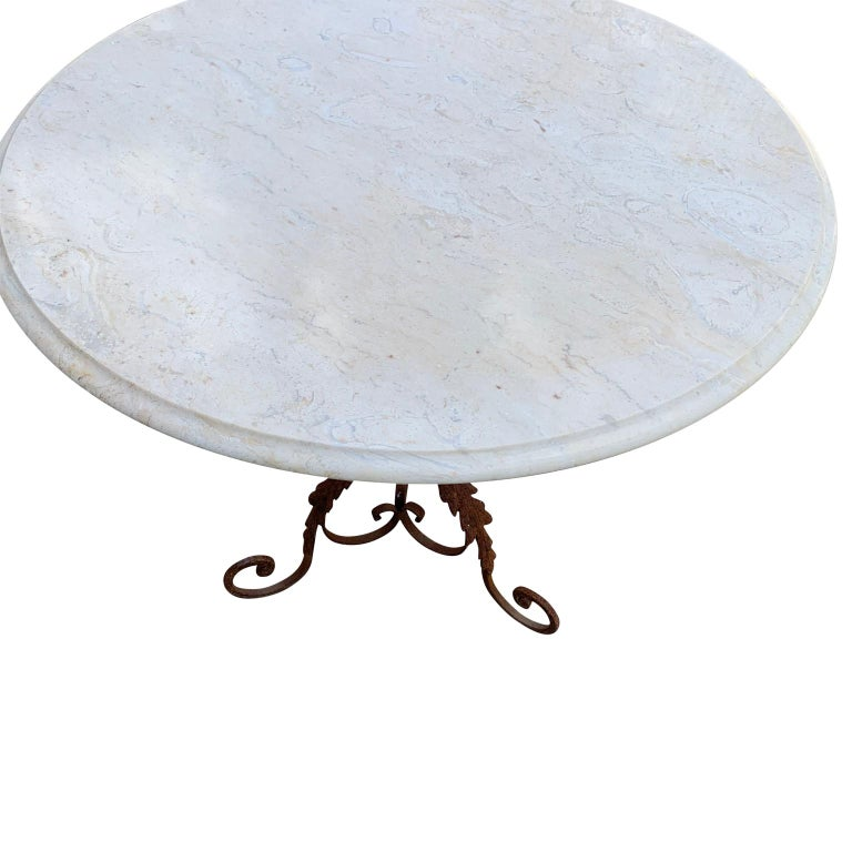 20th Century Pair of French Round Wrought Iron and Marble Garden Bistro Tables For Sale