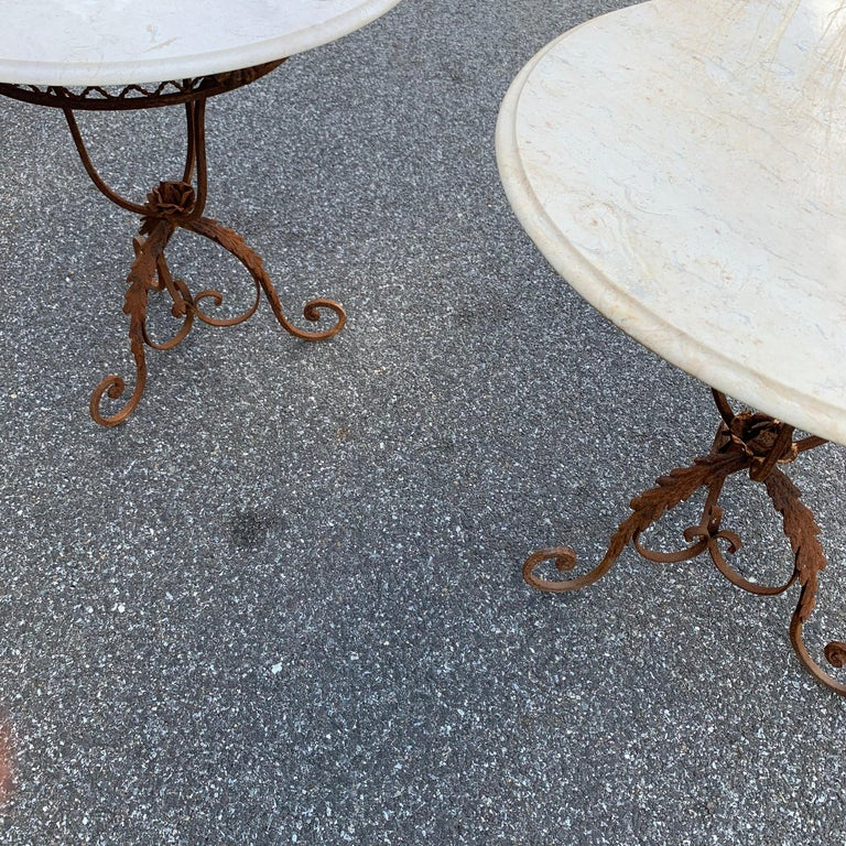 Pair of French Round Wrought Iron and Marble Garden Bistro Tables For Sale 3