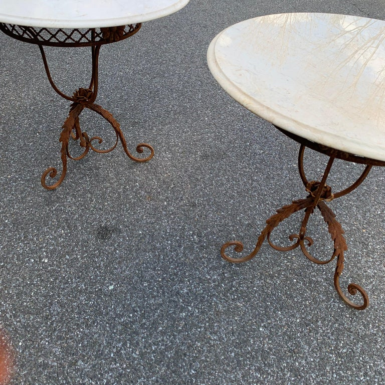 Pair of French Round Wrought Iron and Marble Garden Bistro Tables For Sale 4
