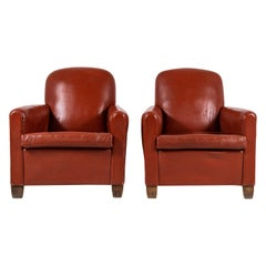 Pair of French Saddle Leather Club Chairs