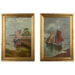Pair of French Sailboats Oil Paintings