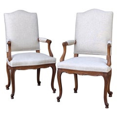 Pair of French Salon Chairs with Linen Upholstery 'Priced Individually'
